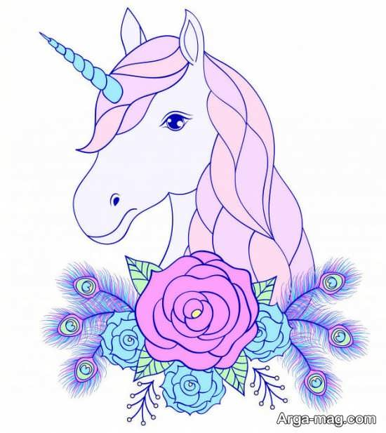 طراحی هنرمندانه اسب تک شاخ