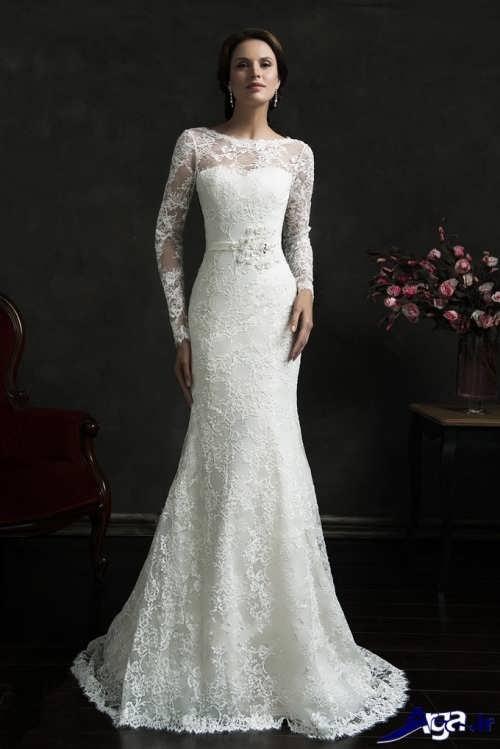 لباس عروس زیبا آستین بلند