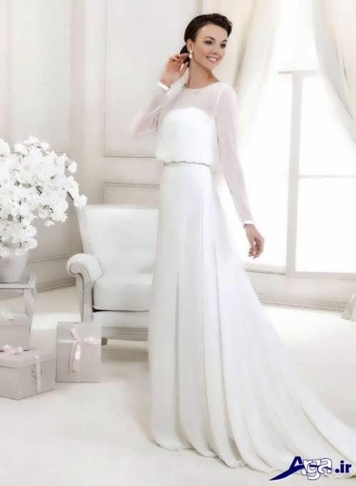لباس عروس آستین بلند زیبا و شیک