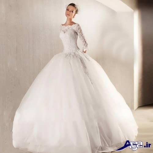 لباس عروس پف دار با آستین بلند