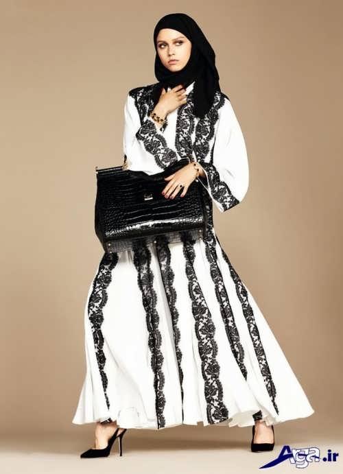 مانتو بلند مجلسی با دو رنگ سیاه و سفید
