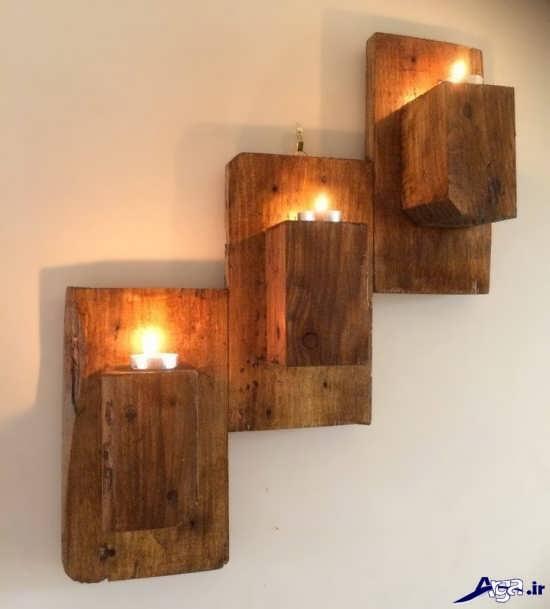 مدل جا شمعی با چوب