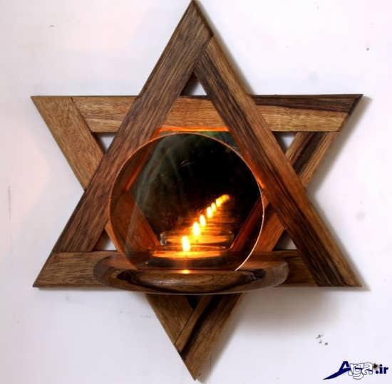 جا شمعی زیبا با چوب