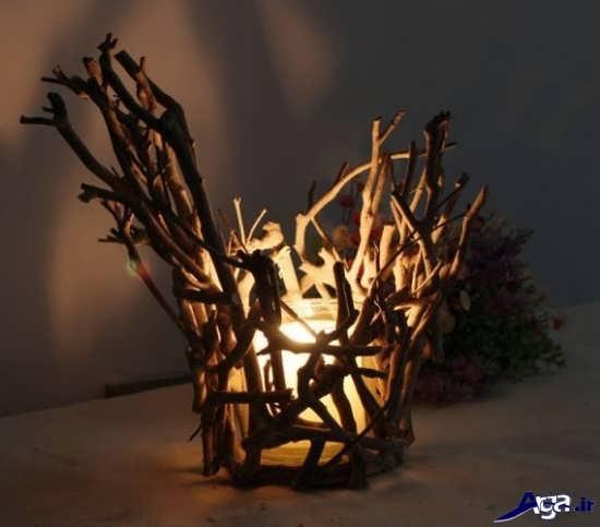 ساخت جا شمعی با چوب