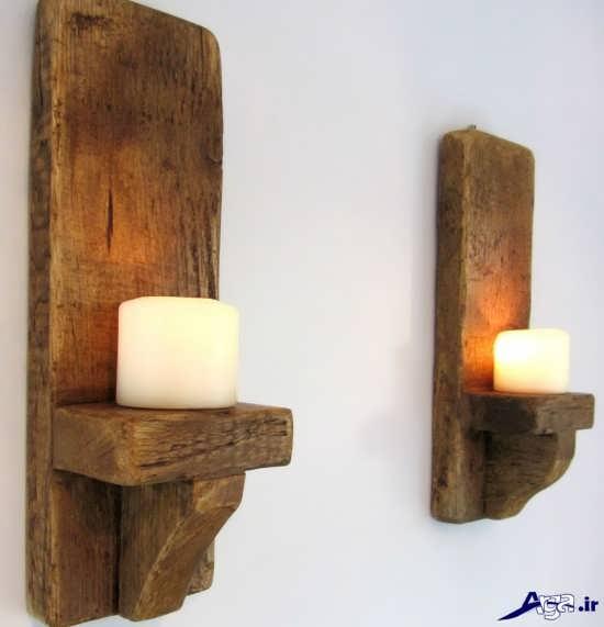 جا شمعی چوبی دست ساز