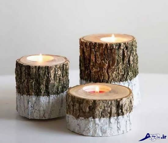 جا شمعی با چوب