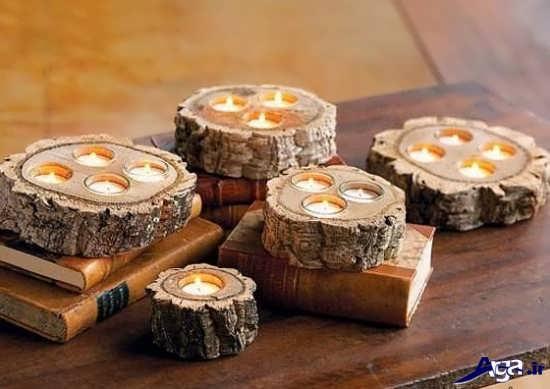 شمعدان دست ساز و چوبی
