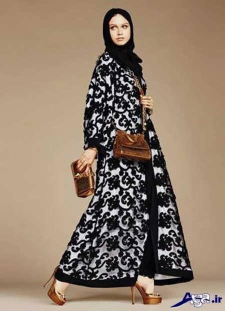 مدل مانتو عربی با دو رنگ