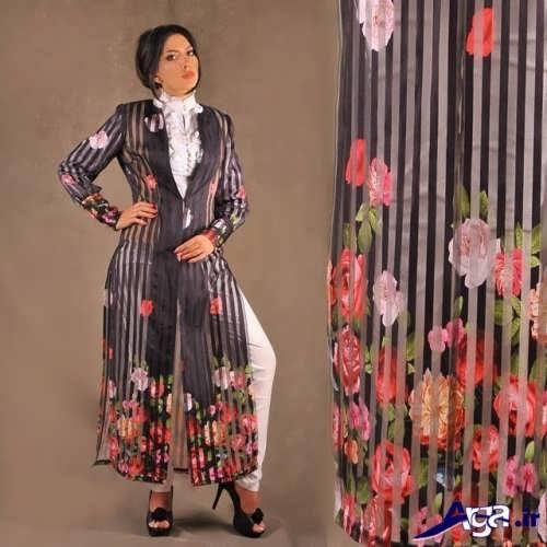 مدل مانتو زیبا با طرح گلدار