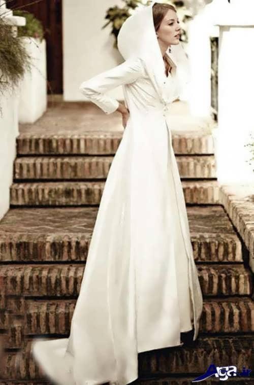 مدل شنل آستین دار و کلاه دار برای عروس