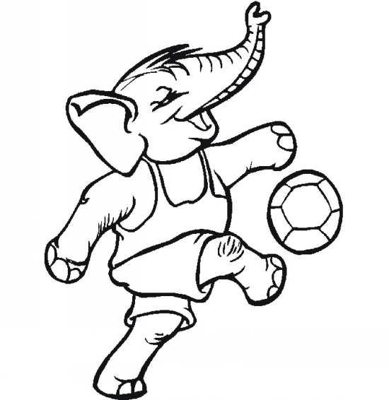نقاشی فیل در حال توپ بازی
