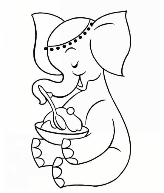 نقاشی زیبا فیل در حال غذا خوردن