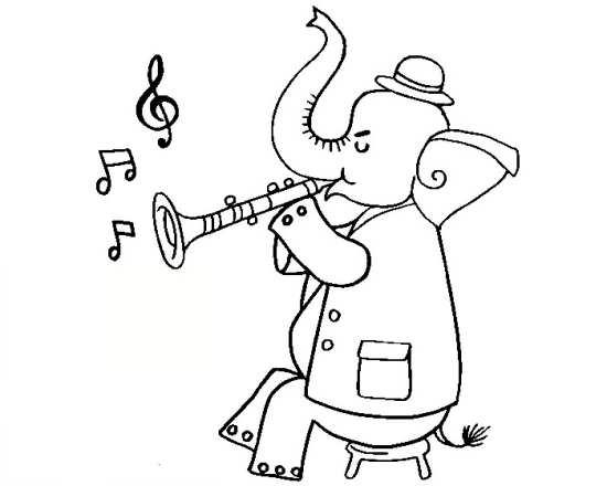نقاشی زیبا فیل در حال شیپور زدن