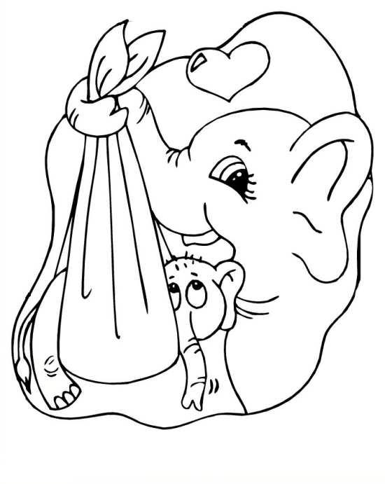 نقاشی زیبا از فیل و بچه اش