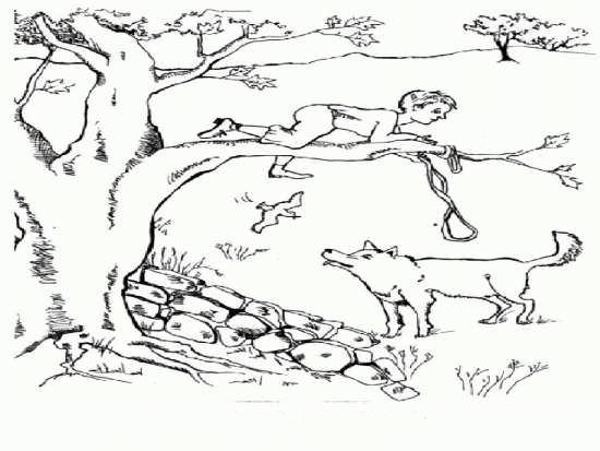 نقاشی زیبا انسان و گرگ در جنگل