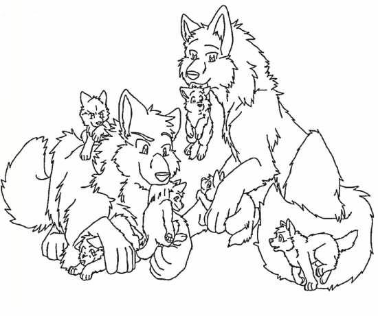 نقاشی گرگ و بچه هایش