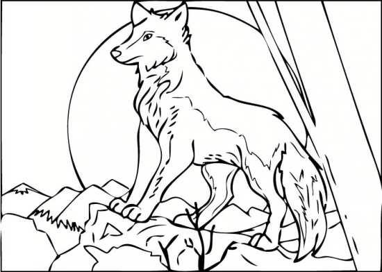 نقاشی زیبای گرگ قدرتمند در جنگل