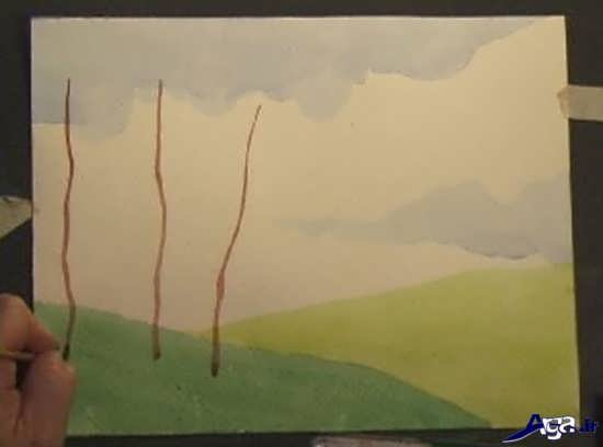 نقاشی درخت با آبرنگ