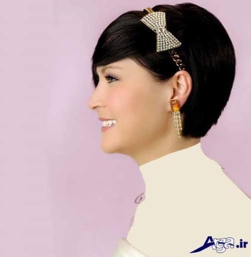 مدل شینیون زیبا برای موهای کوتاه عروس