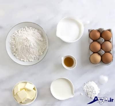 مواد لازم برای تهیه کیک وانیلی