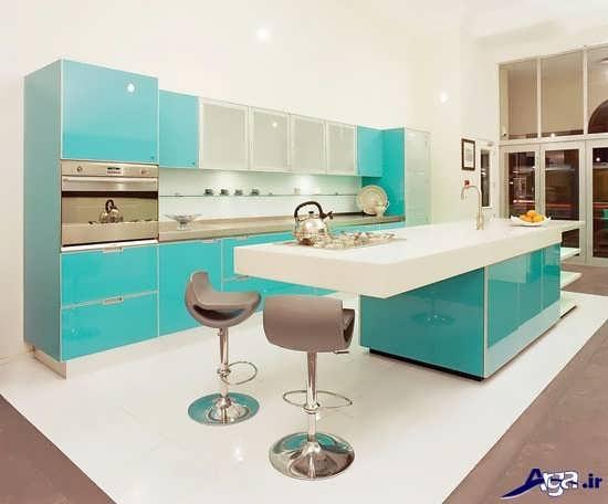 آشپزخانه آبی جزیره ای