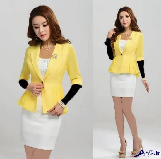 مدل کت ودامن کره ای زرد