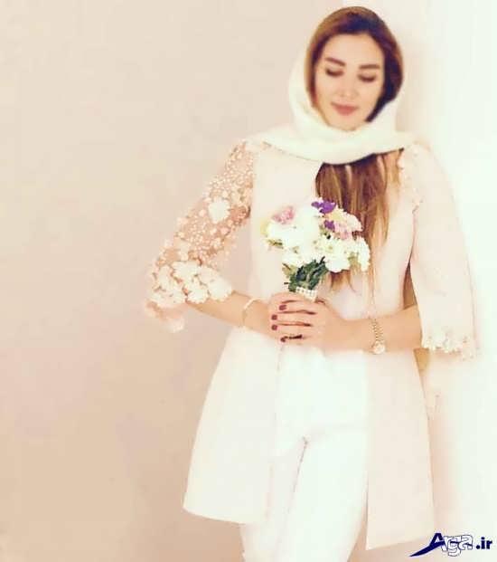 مدل مانتو مجلسی سفید برای عروس