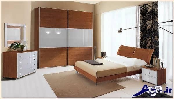 مدل سرویس خواب ام دی اف با ترکیب دو رنگ