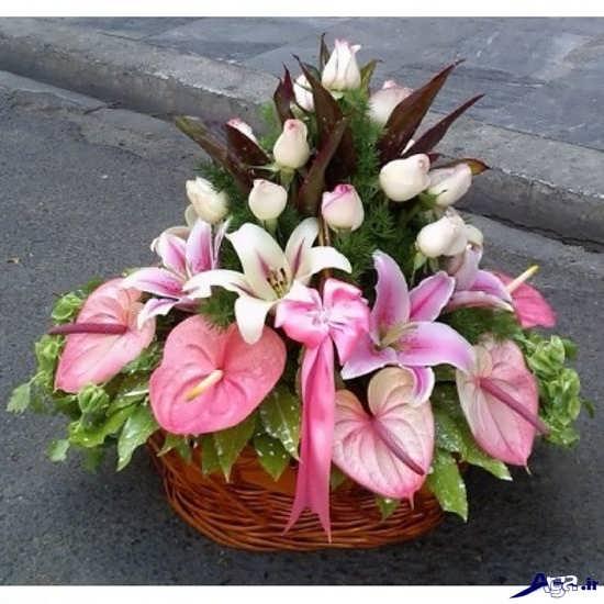 مدل تزیین سبد گل طبیعی