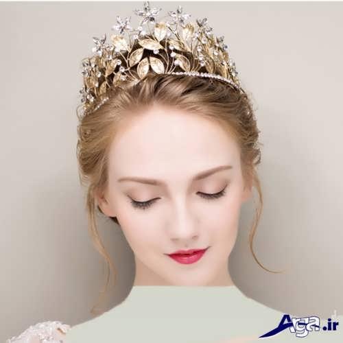 مدل موی ساده عروس با تاج