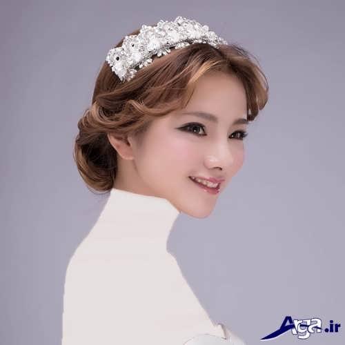مدل موی عروس با تاج با شینیون های زیبا