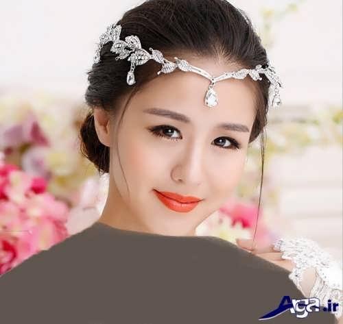 مدل شینیون با تاج روی پیشانی