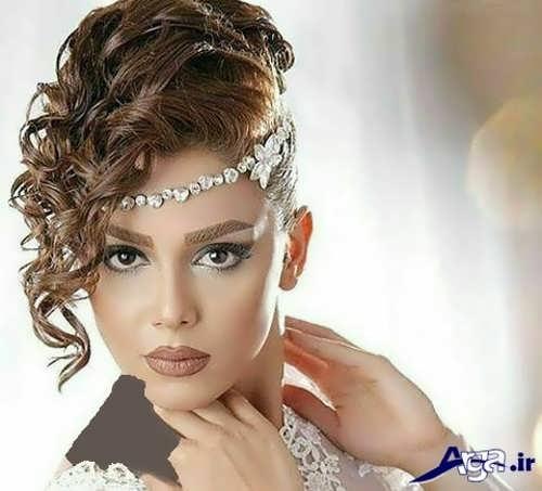مدل موی عروس با تاج روی پیشانی زیبا و جدید