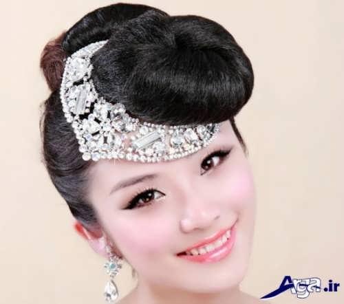 مدل موی عروس با تاج روی پیشانی