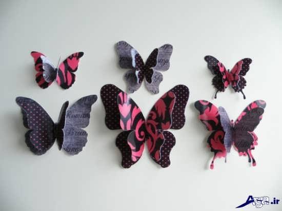 تزیین دیوار اتاق خواب با پروانه کاغذی