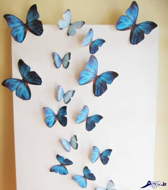 کاردستی پروانه برای تزیین دیوار اتاق خواب