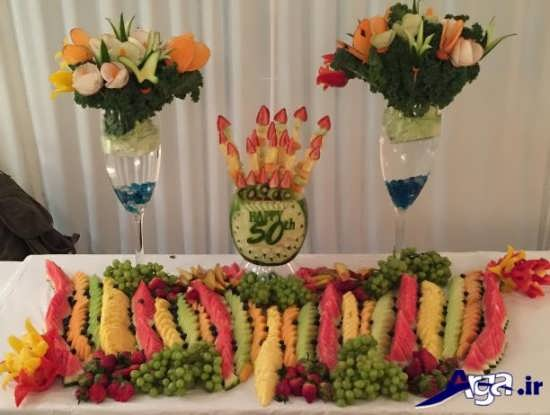 تزیین کردن میوه برای روی میز تولد