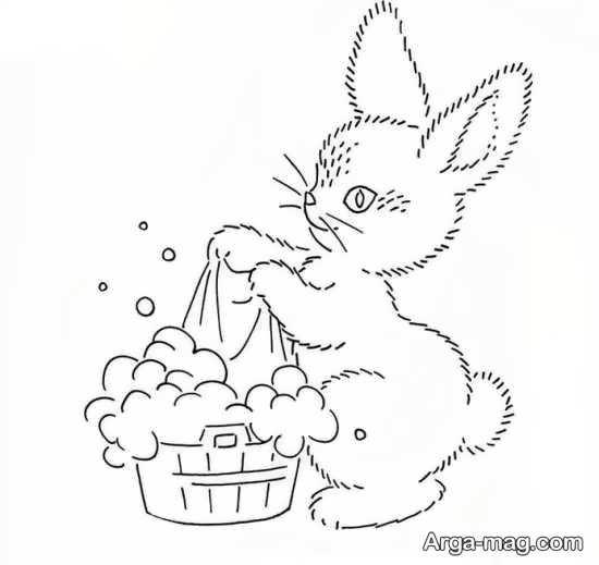 طرحی از خرگوش برای گلدوزی