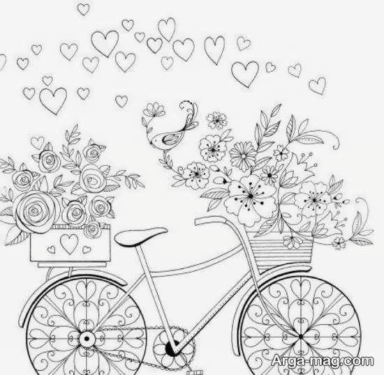 طرحی از دوچرخه برای گلدوزی