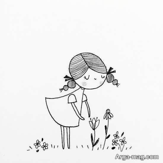 طرحی از دختر برای گلدوزی