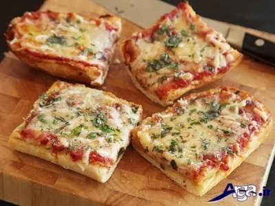 طرز تهیه پیتزا با نان تست در منزل