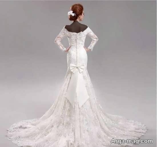 مدل پیراهن عروس کره ای دنباله دار