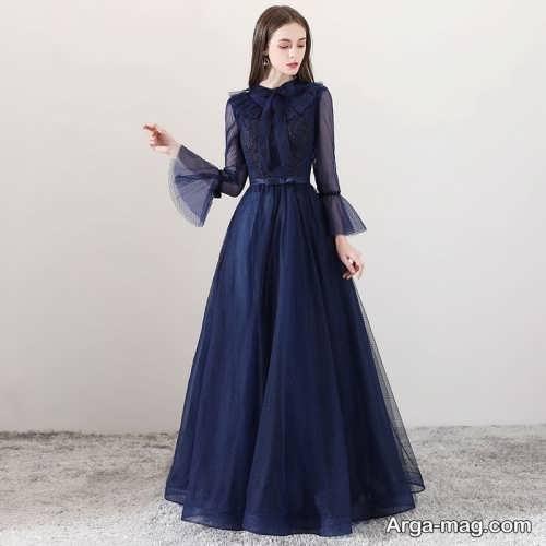 لباس مجلسی بلند با طرحی قشنگ