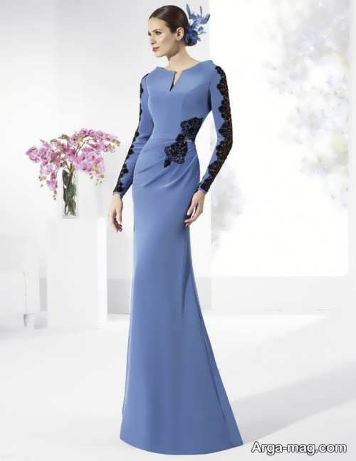 لباس مجلسی بلند با طرحی مدرن