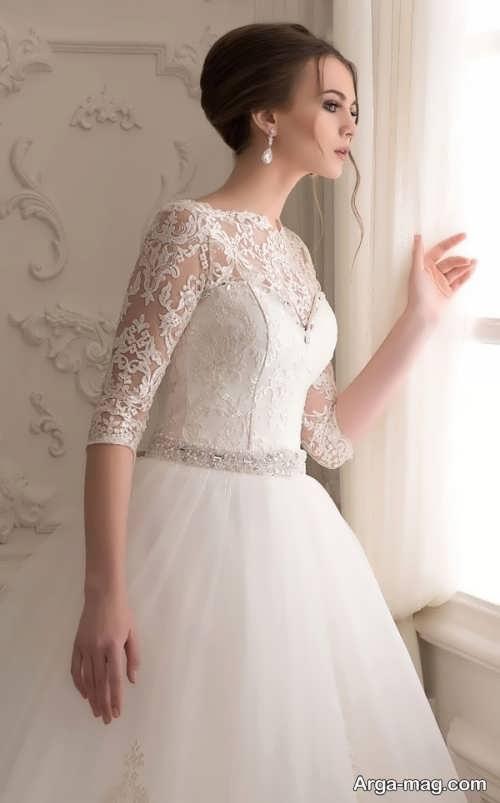 لباس عروس آستین بلند گیپور