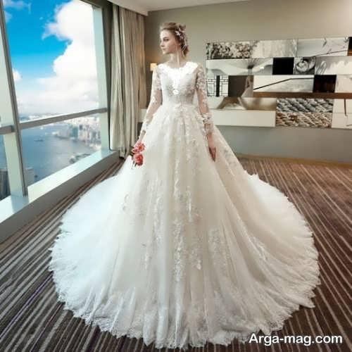 پیراهن عروس آستین بلند پرنسسی