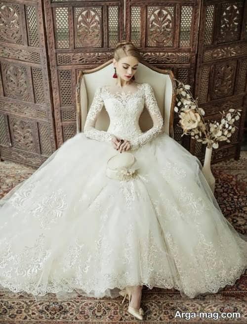 مدل پیراهن عروس آستین بلند