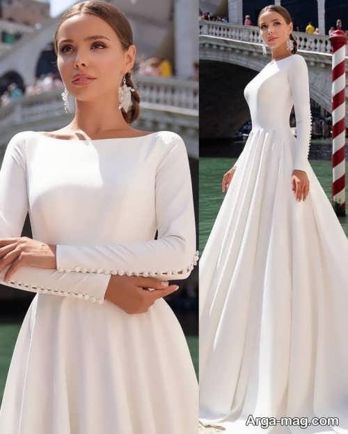 لباس عروس آستین بلند ساده