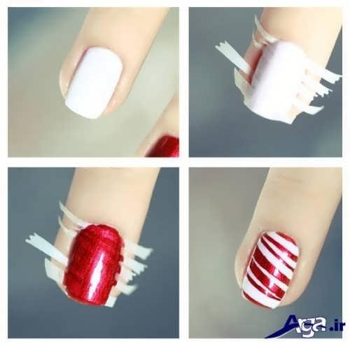 طراحی زیبا ناخن ها با کمک نوار چسب