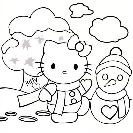 نقاشی کیتی خانم برای رنگ آمیزی کودکان دختر